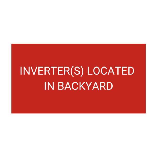 Inverters Located In Backyard