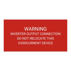 Warning Inverter Output Connection