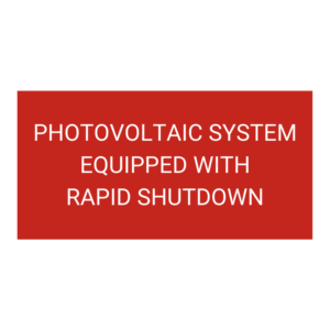 Photovoltaic System Equipped with Rapid Shutdown