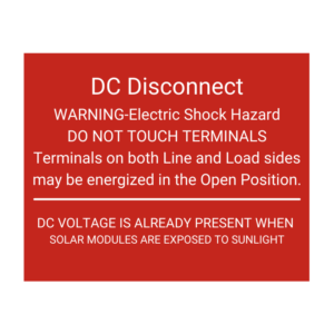 DC Disconnect Solar Tag